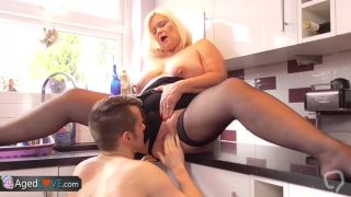 Mature BBW Fucks In The Kitchen