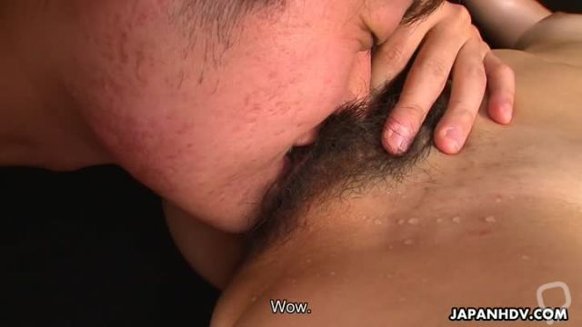 Jap brunette on a leash spoils two dicks