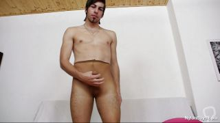Skinny Boy Playing With His Cock And Nylon
