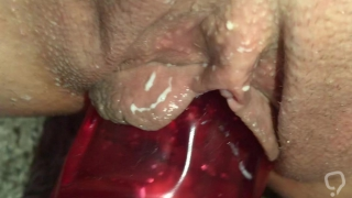Meaty pussy takes big red dildo