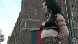 Tied up in lingerie babe publicly shamed