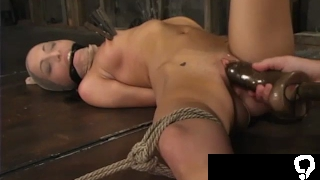Insex mask and taped mouth in strict bondage HUGE dildo pussy vibrated