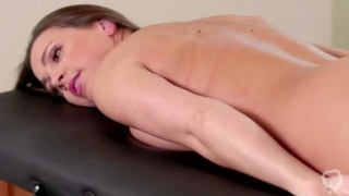 Masseuse Whitney Wright eats Abigail Macs wet pussy to relieve her str