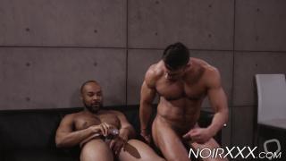 Muscular white man bounces on Ray Diesels big black dick