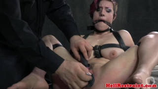 Breastbondage sub restrained upside down
