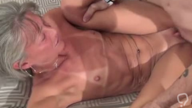 Small tits Asian granny gets creampied