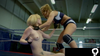 Lesbian beauties strip down during wrestling