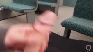 Flashing huge cock in public train