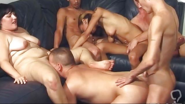 Four Bisexual Guys Having Orgy With Two Brunettes