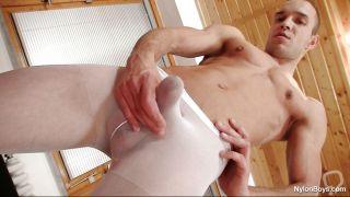 Peter Rubbing His Hard Dick While Wearing His Favorite Pantyhose