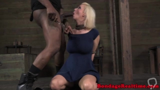Restrained submissive throatfucked