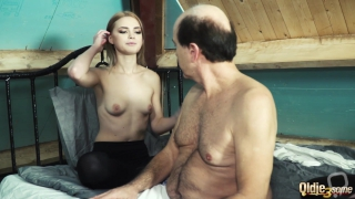 2 young girls suck old man cock and have super hot sex