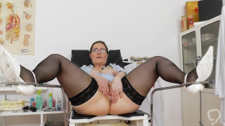 Masturbation with a horny mature nurse