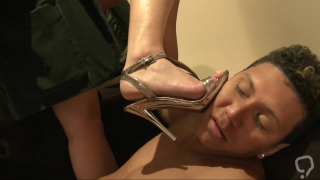 Foot fetish with a busty slut