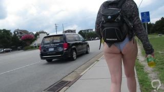 My Wife Wearing Skimpy Bikini Bottom Walking Down Busy Street