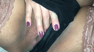 Pregnant sexy girlfriend in stayups fingering her wet pussy