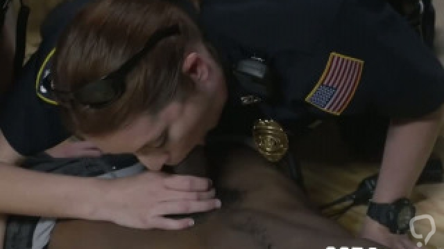 Lets talk around the corner with female busty police officers