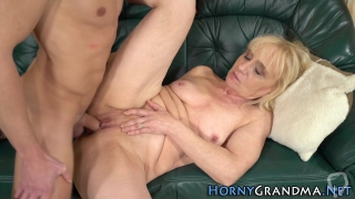Older blonde rides dick