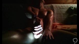 Lighting play, thick veiny cock and a huge self facial
