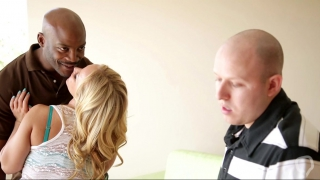 Wild interracial with a blonde wife