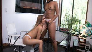 Lesbian blonde taking her lead to start a hot lesbian pussy eating