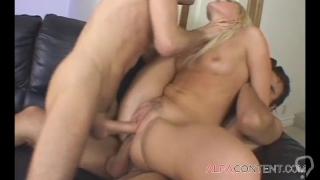Hot blonde slut loves hard DP