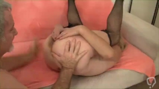 Hairy Granny with fishnets had a huge orgasm
