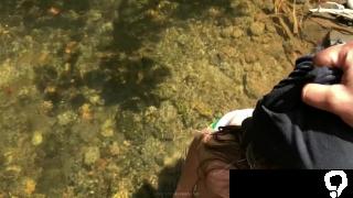 Camila sucks my dick in the river