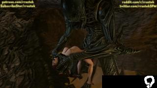Samus Aran fucked hard by huge cock Aliens xenomorph hardcore 3D porn