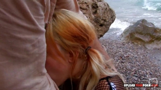 Kinky blonde in fishnets gets a big dick