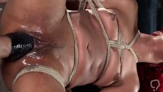 Backbend ebony slave pussy whipped
