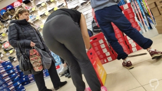 Big juicy ass brunette in pants bends cancer for us with you