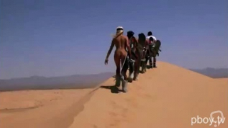 Sexy playboy bunnies doing naked sand boarding