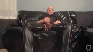 Finnish gay Juha Vantanen leather masturbation
