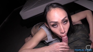 Asian shemale pov and cumshot