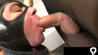 Big cock shemale threesome with cumshot