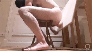 Straight guy rams his ass using table as fuck machine, having a hard time!