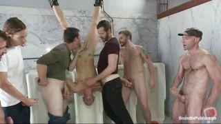 Upside Down Hanging Gay Twig Gets Gang Banged