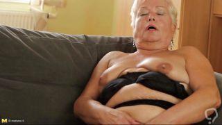 Blonde Grandma In Black Panties Gives Herself Some Love!