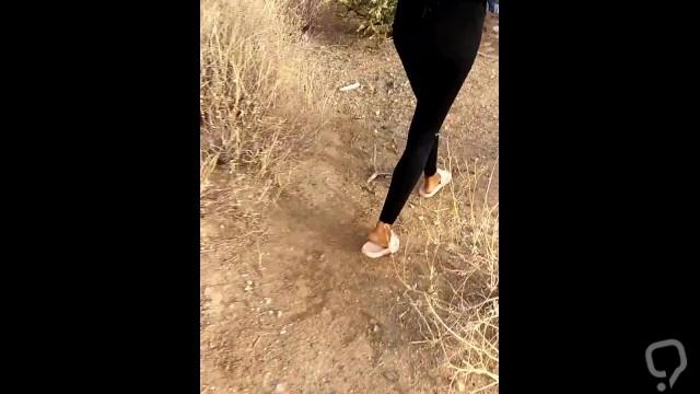 Ebony Slut Peeing Outside in Public