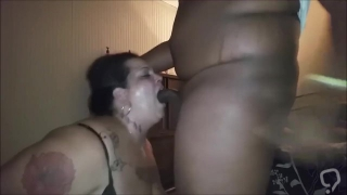 Plump Babe With Huge Tits Giving Oral Pleasure To A Black Dude
