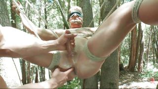 Sexy Guy Tied And Punished In The Forest