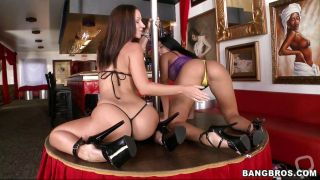 Two Hard Cocks For These Stripper Brunettes