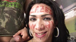 Shemale Cybelle Receiving A Big Load Of Semen On Her Face