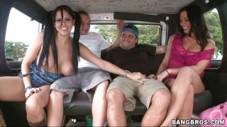 Two Chicks And Two Guys In The Bang Bus