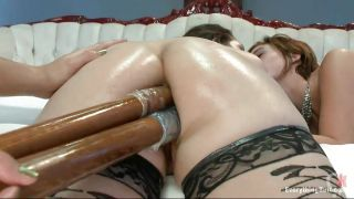 Sexy Brunette Double Penetrated In The Ass By A Blonde