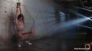 Sexy Raven-haired Bonded Slut Gets Hosed Down Good!