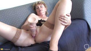 Slutty Grandma Masturbating With A Big Dildo