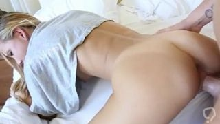 Playing with stepbro made her horny and ready to fuck
