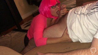 Sucking a big cock and rubbing cum all over my face!